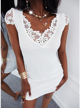 Solid Lace Short Sleeves Cap Sleeve Sheath Above Knee Casual Dresses