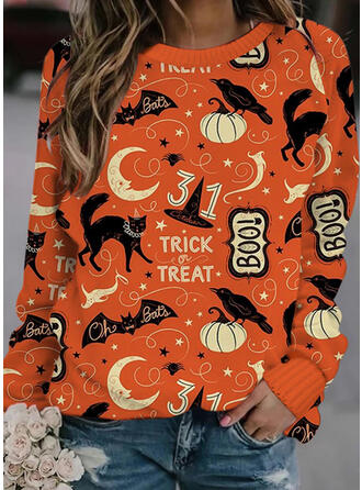 Halloween Print Letter Animal Round Neck Casual Sweaters