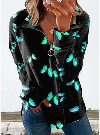 Print Butterfly Lapel Long Sleeves Sweatshirt
