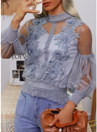 Print Lace Round Neck Long Sleeves Lantern Sleeve Casual Blouses