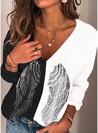 Color Block Print Sequins V-Neck Long Sleeves T-shirts