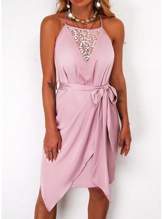 Solid Lace Sleeveless Sheath Knee Length Casual Slip Dresses