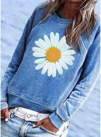 Fleurie Imprimé Col Rond Manches Longues T-shirts