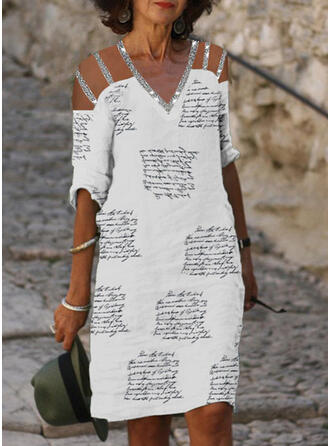 Imprimée/Paillettes/Letter Manches 1/2 Droite Longueur Genou Décontractée Tunique Robes