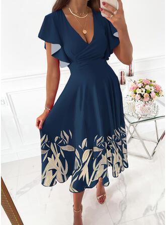 Print/Floral Short Sleeves Ruffle Sleeve A-line Skater Elegant Midi Dresses