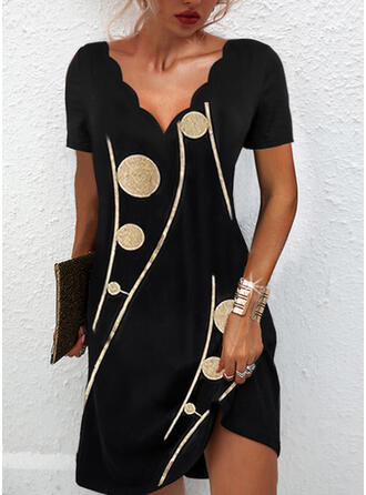 Print Short Sleeves Shift Above Knee Casual/Elegant Tunic Dresses