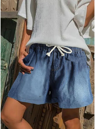 Froncé Grande taille Cordon Décontractée Ancien Short Jeans