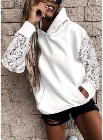 Solid Lace Long Sleeves Hoodie