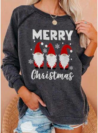 Print Letter Round Neck Long Sleeves Christmas Sweatshirt