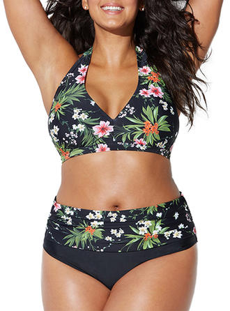 Floral High Waist Tropical Print Halter Beautiful Plus Size Bikinis Swimsuits