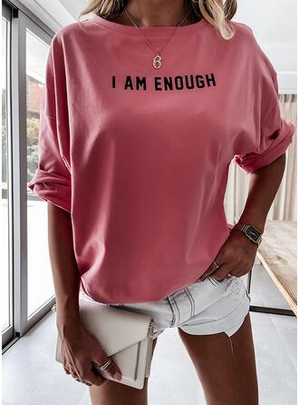 Imprimé Letter Col Rond Manches Longues T-shirts