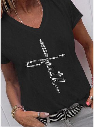 Sequins Letter V-Neck Short Sleeves T-shirts