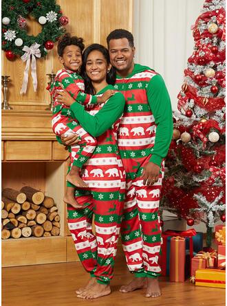 Renne Ours Inmprimé Tenue Familiale Assortie Pyjama De Noël
