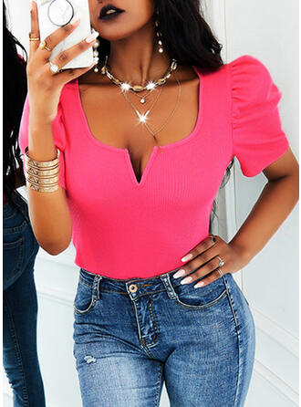 Solid V-Neck Short Sleeves Puff Sleeve Casual Blouses