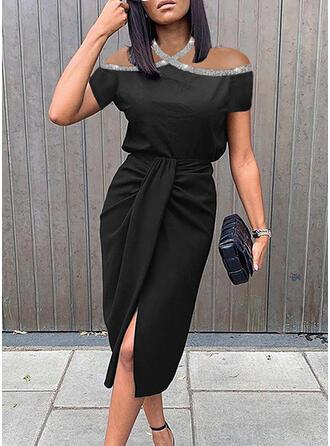 Sequins/Solid Short Sleeves Sheath Knee Length Little Black/Party Dresses