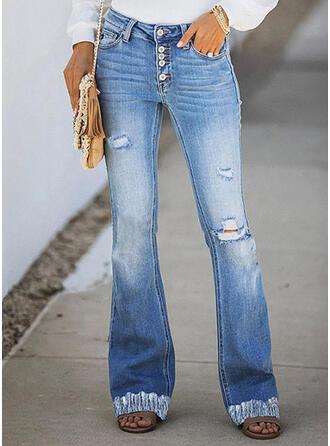 Solid Denim Long Casual Elegant Pocket Shirred Ripped Denim & Jeans