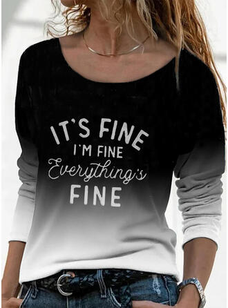 Gradient Print Letter Round Neck Long Sleeves T-shirts