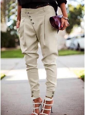 Couleur Unie Froncé Grande taille Élégante Sexy Pantalon
