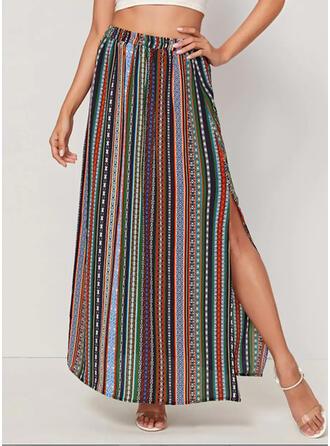 Polyester Striped Mi-Mollet Jupes fendues Jupes trapèze