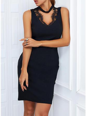 Solid Lace Sleeveless Sheath Above Knee Little Black/Elegant Dresses