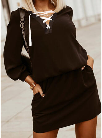 Solid Long Sleeves Lantern Sleeve Sheath Above Knee Little Black/Casual Dresses