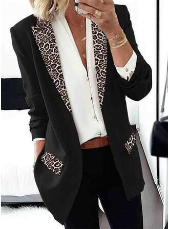 Long Sleeves Print Leopard Jackets