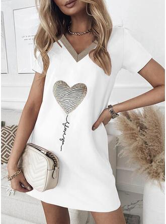 Imprimée/Cœur/Letter Manches Courtes Droite Au-dessus Du Genou Décontractée T-shirt Robes
