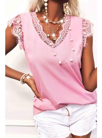 Solid Lace V-Neck Tank Tops
