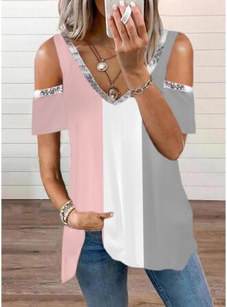 Color Block Cold Shoulder Short Sleeves T-shirts