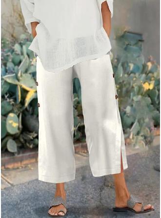 Couleur Unie Froncé Grande taille Décontractée Plaine Pantalons de détente