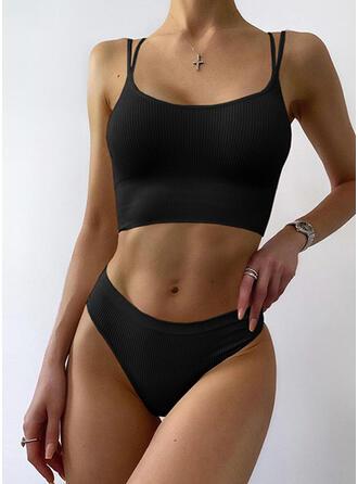 Couleur Unie À Bretelles Col U Décontractée Bikinis Maillots De Bain