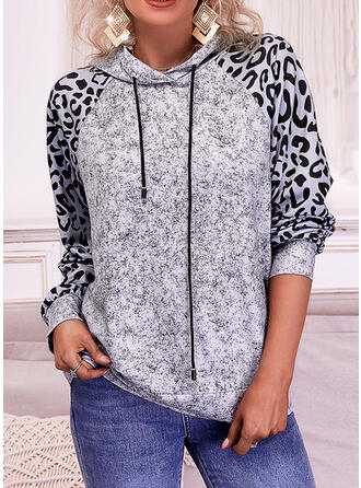 Print Leopard Hooded Long Sleeves Hoodie