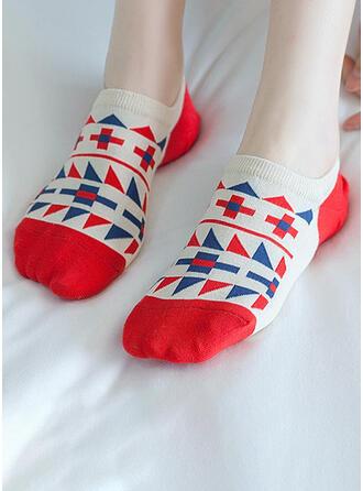 Color Block/géométrique Imprimer/Colorful/Crochet Multicolore/Chaussette de cheville Chaussettes (Ensemble de 5 paires)