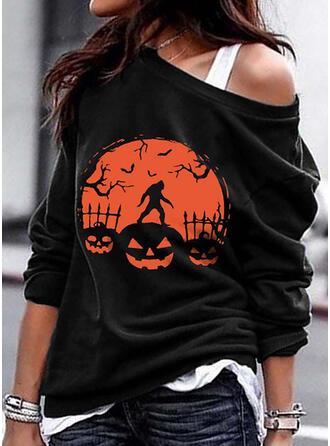 Halloween Print Animal Off the Shoulder Long Sleeves Sweatshirt