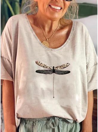 Imprimé Animal Paillettes Col Rond Manches 1/2 T-shirts