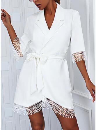 Solid Lace 1/2 Sleeves A-line Above Knee Elegant Wrap/Skater Dresses