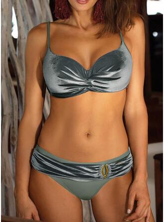 Couleur Unie Taille Basse À Bretelles Élégante Bikinis Maillots De Bain