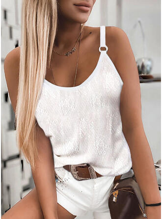 Floral Solid Spaghetti Straps Sleeveless Tank Tops
