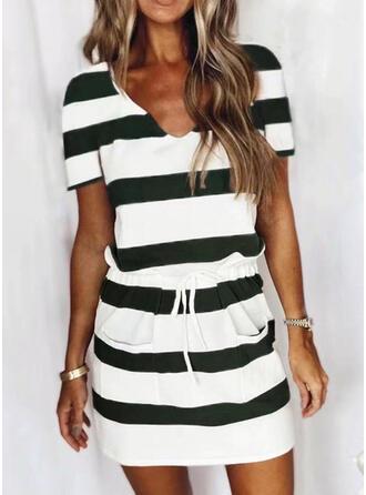 Couleurs Opposées Patchwork Cordon Striped Extensible Costume