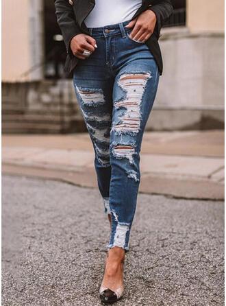 Froncé Déchiré Décontractée Ancien Jeans