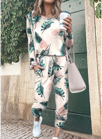 Print Casual Tee & Two-Piece Outfits Set