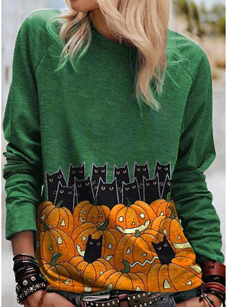 Halloween Animal Print Round Neck Long Sleeves T-shirts