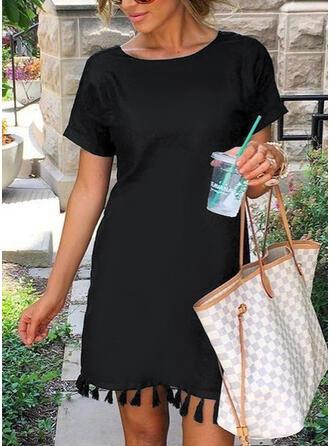 Imprimée/Tassel Manches Courtes Droite Au-dessus Du Genou Petites Robes Noires/Décontractée Tunique Robes