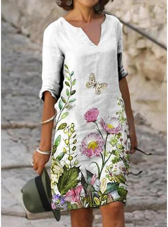 Fleurie/Imprimé Animal Manches 1/2 Droite Longueur Genou Décontractée Tunique Robes