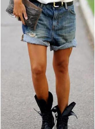 Froncé Grande taille Déchiré Décontractée Ancien Short Jeans