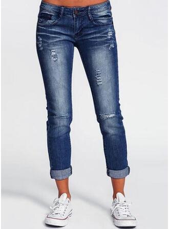 Les poches Froncé Longue Couleur Unie Treillis Pantalon