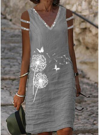 Paillettes/Imprimé Animal Manches Courtes Droite Longueur Genou Décontractée Tunique Robes