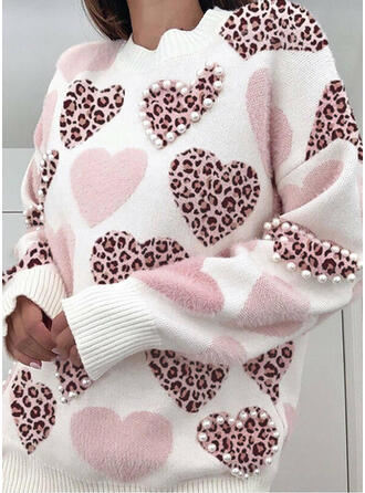 Leopard Beaded Heart Round Neck Casual Sweaters