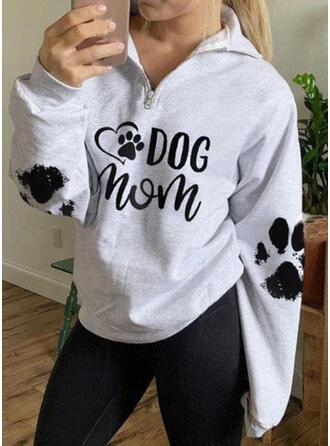 Print Letter Animal Lapel Long Sleeves Sweatshirt