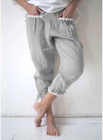 Les poches Froncé Grande taille Décontractée Plaine Pantalons de détente